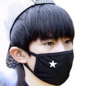 Unisex Anti-dust Solid Black White Star Cotton Earloop Face Mouth Mask Muffle 2pcs