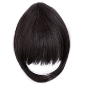 TY.Hermenlisa Synthetic Clip in Hair Bang Extensions Heat Resistant Short Straight Fringe Hairpiece Accessory, 1Pc, 20g, Zooey-Black Auburn