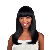 """20"""" 52CM Women's Mid-Long Straight Wig Shoulder Length with Neat Bang Wig 1B#"""