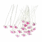 Happy Hours - 20Pcs Handmade U-Shaped Pearl Rose Flower Rhinestone Crystal Hair Pins Clips Barrette for Prom Party Wedding Bridal Bridesmaid Jewellery Accessories