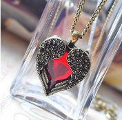 2016 Red Rhinestone Vintage Women Peach Heart Wing Pendant Necklace Chain