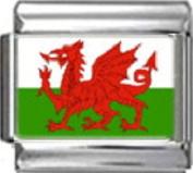 WALES WELSH FLAG Photo Italian Charm 9mm - 1 x PC195 Single Bracelet Link