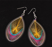 Leiothrix Exaggerated Handmade Silk Alloy Colourful Earrings in Ellipse for Women and Girls Apply to Wedding Party Casual