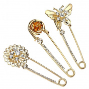 Top Plaza Holiday Gift Pack of 3 Women Fashion Rhinstone Crystal Accented Golden Safety Pin Jewellery Brooch Breastpin - Catch Scarf ,Lapel or Collar