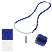 Refill - Long Beaded Kumihimo Necklace - Blue and White - Exclusive Beadaholique Jewellery Kit