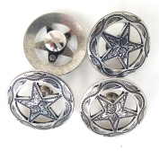 3.2cm Antique Silver Engraved Star Concho W/ Screw 4pc set by Concho King
