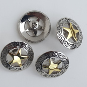 2.9cm Silver Engraved Gold Star Concho W/ Screw 4pc set by Concho King