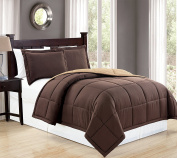 Mk Collection Down Alternative Comforter Set 2 pc twin Revirsible Solid Brown/Taupe New