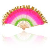 Colourful Cloth Folding hand Fan Belly Dancing & Tinsel Tassel