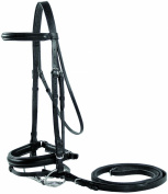 Dressage Crank Bridle with Flash & Rubber Reins USA Leather