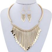 Fheaven Womens Luxury Metal Tassels Pendant Chain Bib Necklace Earrings Jewellery Set