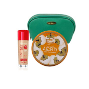 Two Piece Rimmel Kit with Rimmel Long Lasting Coverage Foundation (Soft Beige, 30ml), Coty Airspun Loose Powder (Translucent Extra Coverage, 70ml) with Sea Green Draizee Leather Cosmetic Bag