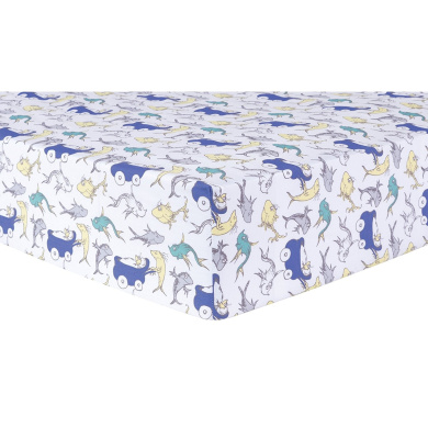 Trend Lab Dr. Seuss New Fish Crib Sheet, Blue, Green and Grey