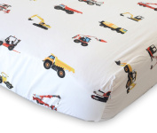 100% Organic Cotton Fitted Crib Sheet by ADDISON BELLE - Premium Baby Bedding - Construction Trucks Print - Soft, Breathable & Durable