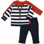 "Petit Lem Baby Boys"" Holiday 3pc Set-Penguin Top and Pant with Stripe Cardigan and Faux Suspenders."