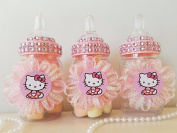 12 Hello Kitty Fillable Bottles Favours Prizes Games Baby Shower Girl Decorations