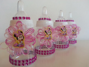 12 Minnie Mouse Pink Fillable Bottles Baby Shower Favours Prizes Girl Decorations