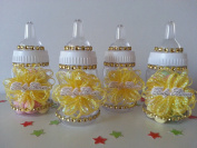 12 Yellow Fillable Bottles Baby Shower Favours Prizes Game Girl or Boy Decoration