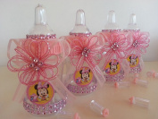 12 Minnie Mouse Pink Fillable Bottles Baby Shower Favours Prizes~Girl Decorations