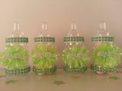 12 Green Fillable Bottles Baby Shower Favours Prizes Games Girl or Boy Decoration
