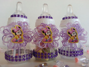12 Minnie Mouse Fillable Bottles Baby Shower Favours Prizes Girl Decorations
