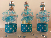 12 Blue Fillable Champagne Bottles Baby Shower Favours Prizes It's a Boy Game