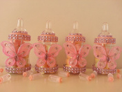 12 Pink Fillable Butterfly Bottles Baby Shower Favours Prizes Girl Decorations