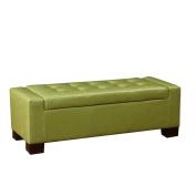 Joveco Lemon Green Button Tufted Bonded Leather Storage Ottoman