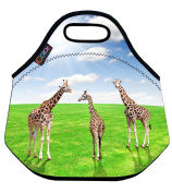 Giraffes Insulated Lunch box Food Bag Neoprene Gourmet Handbag lunchbox Cooler warm Pouch Tote bag For School work