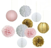 Set of 10pcs White Pink Gold Party Decoration Kit Tissue Paper Pom Pom Honeycomb Ball and Paper Lantern for Girls' Birthday Wedding Decoration Pink Baby Shower Room Decoration Party Favours