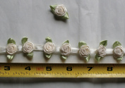 Fabric Satin Ribbon Rose Flower On The Ribbon String , 1.3cm Width For Each Flower, Sold by One Yard, Around 42 Flowers For One Yard