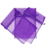 30 Party Favour Gift Bags Organza Fabric Drawstring Bags - Purple