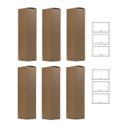 Wine and Liquor Natural Kraft Gift Box - 6 pack - 34cm tall for standard size wine bottle + Labels
