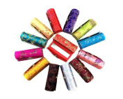 2PCS Colourful Chinese style Satin Silky Fabric Brocade Embroidery Lipstick Box Case Holder Makeup Cosmetic Container