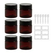 Amber 0.50 oz / 15 ml PET (BPA Free) Plastic Jar (6 pack) + Spatulas and Labels