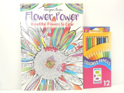 Adult Colouring Book Flower Power Stress Relieving Patterns Paperback with 12 Pre Sharpened Coloured Pencils
