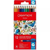 Caran d'Ache 1290.712 Water-soluble Colour Pencils with 12 Colours