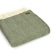 Herringbone pure new wool Knee Rug Throw - Olive Green BRITISH MADE