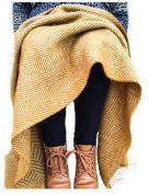 Herringbone pure new wool Knee Rug throw Mustard yellow BRITISH MADE