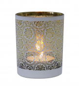 Table Tech Zaragoza 12.5cm Glass Candle Holder, White, Gold