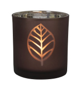 Table Tech Silver Leaf Glass Votive Candle Holder with Bronze Colour Finish
