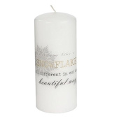 Lene Bjerre Nordic Decorative Candle 17cm, approx 80 hours burning time with touching quote.