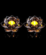 13cm Crystal Lotus Flower Candle Holders Glass Tealight Meditation Candles Holders Christmas Table Decoration Pack of 2