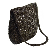 Small Purse/Hand Bag - Black Beads & Sequins on Black Fabric.
