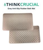 Premium Non Slip Bath Mat, Anti-Bacterial, Deluxe Shower & Bath Mat, 16x28, Grey, by Think Crucial