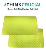 Premium Non Slip Bath Mat, Anti-Bacterial, Deluxe Shower & Bath Mat, 16x28, Green, by Think Crucial