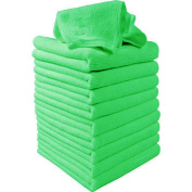 Gilroy 10Pcs Green Soft Absorbent Wash Microfiber Cleaning Dust Cloths Towels for Car Window Table