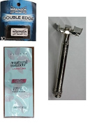 Offbrand Double Edge Safety Razor + Wilkinson Sword Double Edge Razor Blades, 10 ct. (Pack of 1) with FREE Loving Colour trial size conditioner