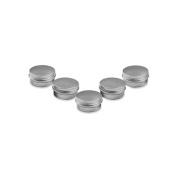 Houseables Aluminium Tin Jars, .5 Oz, 15 ML Gramme Jar, 5 pcs, Cosmetic Sample Metal Tins Empty Container, Round Pot Screw Cap Lid, Small Ounce for Lip Balm, Salve, Make Up, Eye Shadow, Powder