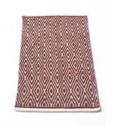 Chardin Home - 100% cotton Diamond Rug Fully reversible - Mat size 50cm x 90cm , Machine washable, Brick Red & Ivory